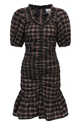 Женское хлопковое платье GANNI темно-коричневого цвета, арт. F5849 | Фото 1