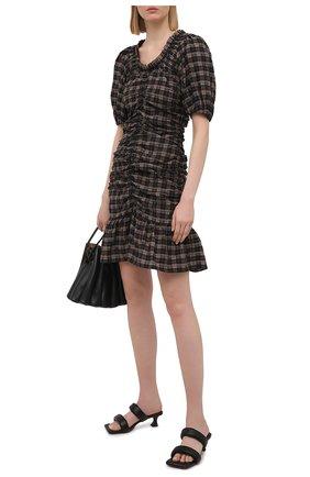 Женское хлопковое платье GANNI темно-коричневого цвета, арт. F5849 | Фото 2