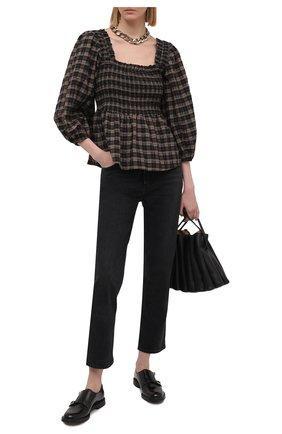 Женская хлопковая блузка GANNI темно-коричневого цвета, арт. F5851 | Фото 2