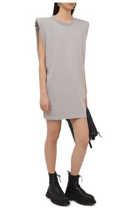 Женское хлопковое платье THE FRANKIE SHOP серого цвета, арт. DR TIN KR 08 | Фото 2