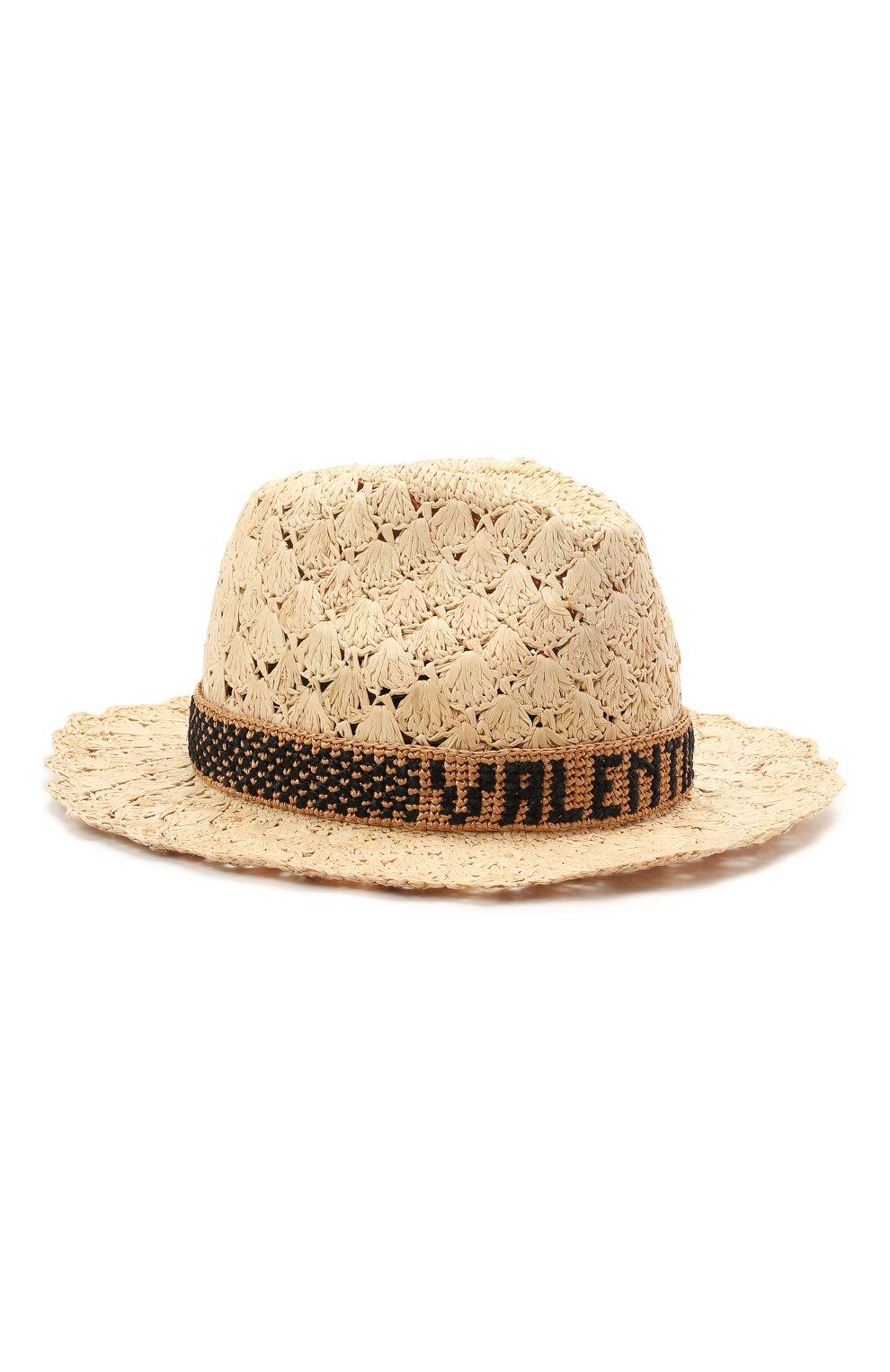 Женская соломенная шляпа valentino x borsalino VALENTINO бежевого цвета, арт. VW2HAA59/QJB | Фото 1 (Материал: Растительное волокно)