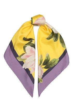 Женский шелковый платок  VALENTINO желтого цвета, арт. VW0EI114/GEM   Фото 1 (Материал: Текстиль, Шелк; Принт: С принтом)