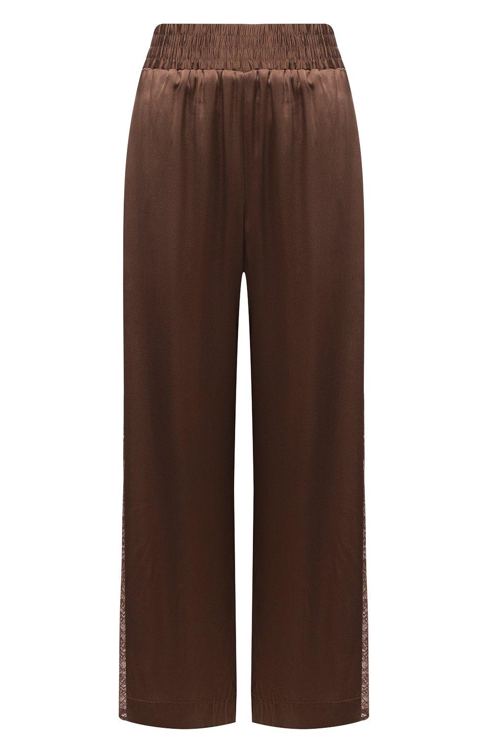 Женские шелковые брюки MAX&MOI коричневого цвета, арт. E21BRYA | Фото 1 (Силуэт Ж (брюки и джинсы): Широкие; Материал внешний: Шелк; Длина (брюки, джинсы): Стандартные; Женское Кросс-КТ: Брюки-одежда; Материал подклада: Вискоза; Стили: Романтичный)