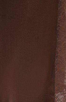 Женские шелковые брюки MAX&MOI коричневого цвета, арт. E21BRYA | Фото 5 (Силуэт Ж (брюки и джинсы): Широкие; Материал внешний: Шелк; Длина (брюки, джинсы): Стандартные; Женское Кросс-КТ: Брюки-одежда; Материал подклада: Вискоза; Стили: Романтичный)