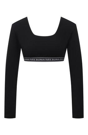 Женский хлопковый топ BALMAIN черного цвета, арт. BPM145140 | Фото 1