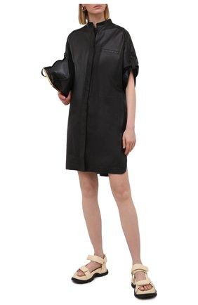 Женское кожаное платье YVES SALOMON черного цвета, арт. 21WYR21096APXX | Фото 2