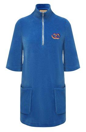 Женское хлопковое платье GUCCI синего цвета, арт. 644597/XJDCV | Фото 1
