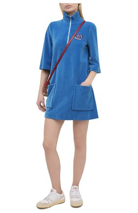 Женское хлопковое платье GUCCI синего цвета, арт. 644597/XJDCV | Фото 2