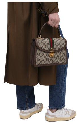 Женская сумка ophidia GUCCI бежевого цвета, арт. 651055/96IWX   Фото 2 (Ремень/цепочка: На ремешке; Размер: small; Материал: Экокожа, Текстиль; Сумки-технические: Сумки top-handle, Сумки через плечо)