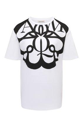 Женская хлопковая футболка ALEXANDER MCQUEEN черно-белого цвета, арт. 659987/QZAC6 | Фото 1