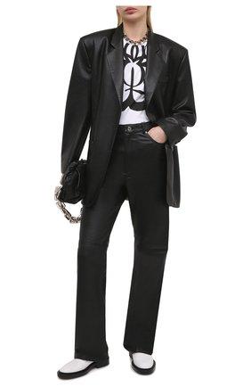 Женская хлопковая футболка ALEXANDER MCQUEEN черно-белого цвета, арт. 659987/QZAC6 | Фото 2