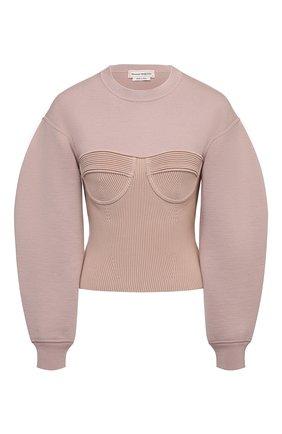 Женский шерстяной пуловер ALEXANDER MCQUEEN розового цвета, арт. 659949/Q1AUM   Фото 1 (Рукава: Длинные; Длина (для топов): Стандартные; Стили: Бохо; Женское Кросс-КТ: Пуловер-одежда; Материал внешний: Шерсть)