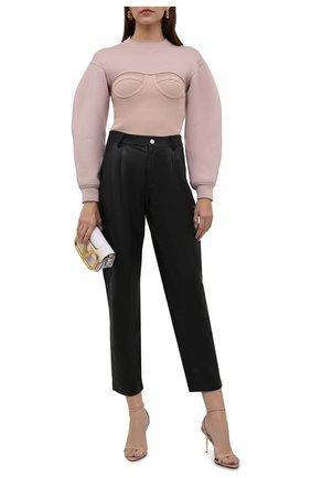 Женский шерстяной пуловер ALEXANDER MCQUEEN розового цвета, арт. 659949/Q1AUM   Фото 2 (Рукава: Длинные; Длина (для топов): Стандартные; Стили: Бохо; Женское Кросс-КТ: Пуловер-одежда; Материал внешний: Шерсть)