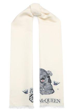 Женский шарф из шерсти и шелка ALEXANDER MCQUEEN белого цвета, арт. 645576/3D06Q | Фото 1