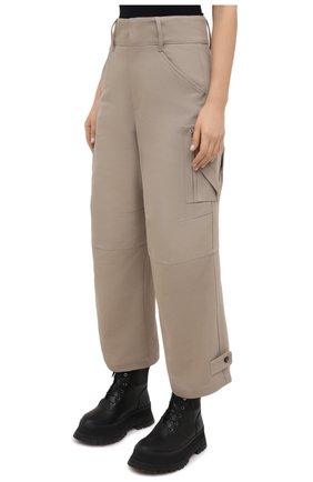 Женские хлопковые брюки BOTTEGA VENETA бежевого цвета, арт. 647711/V0BT0 | Фото 3