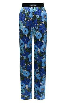 Женские шелковые брюки TOM FORD синего цвета, арт. PAW406-FAP158 | Фото 1