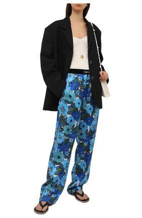 Женские шелковые брюки TOM FORD синего цвета, арт. PAW406-FAP158 | Фото 2
