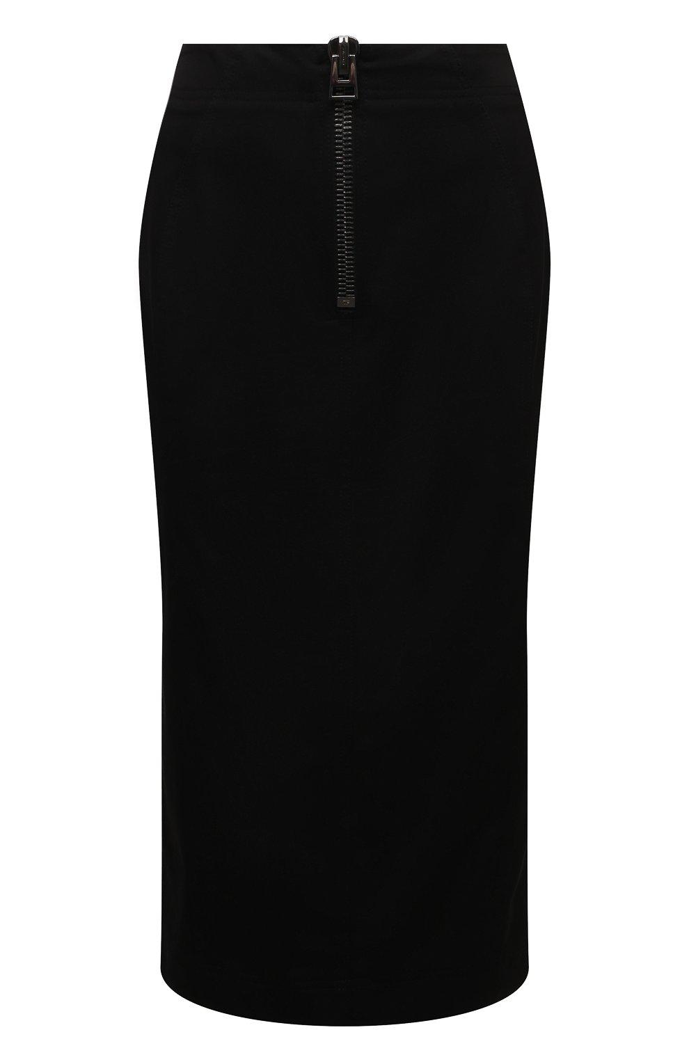 Женская хлопковая юбка TOM FORD черного цвета, арт. GC5578-FAX809 | Фото 1