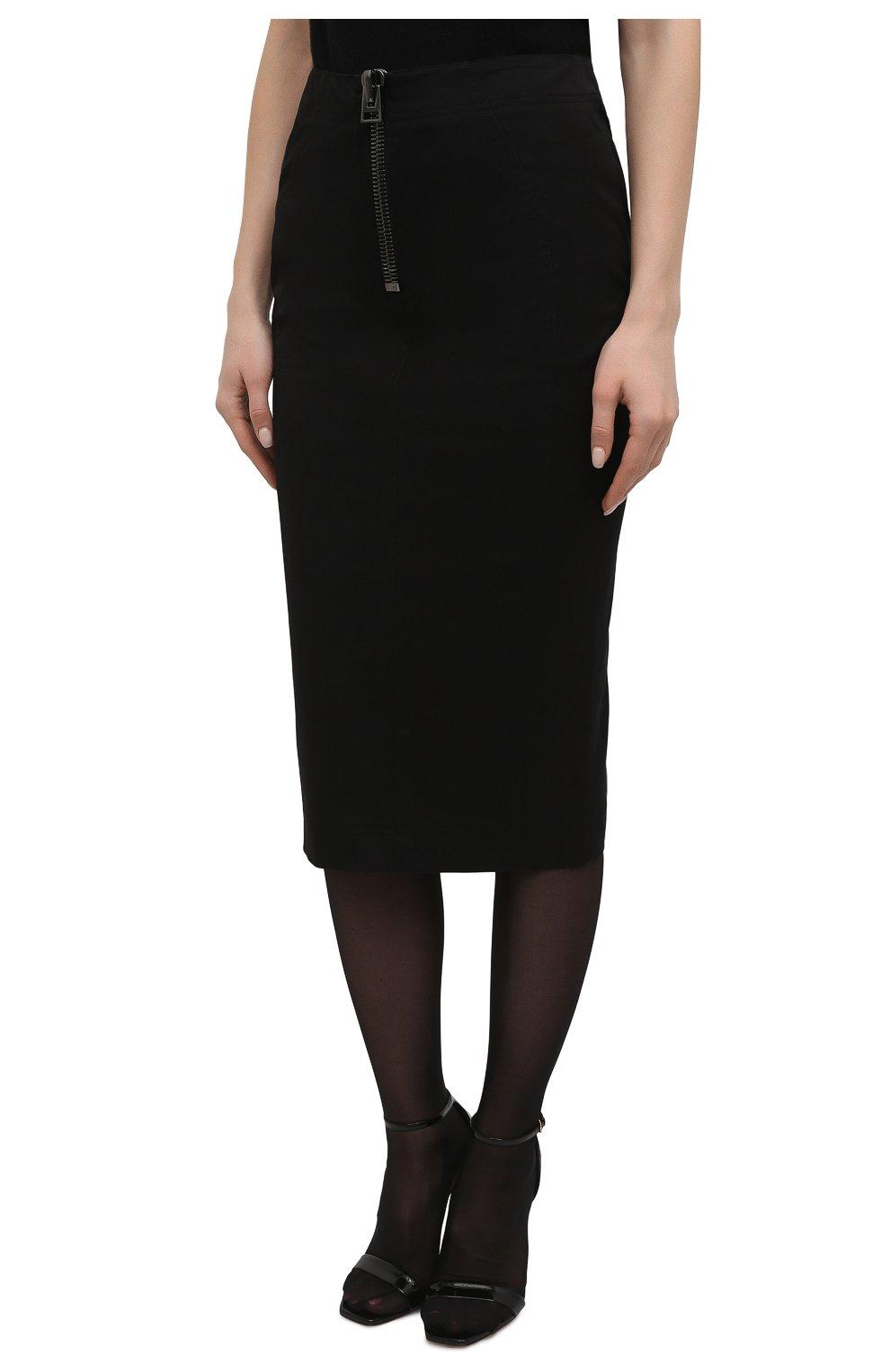Женская хлопковая юбка TOM FORD черного цвета, арт. GC5578-FAX809 | Фото 3