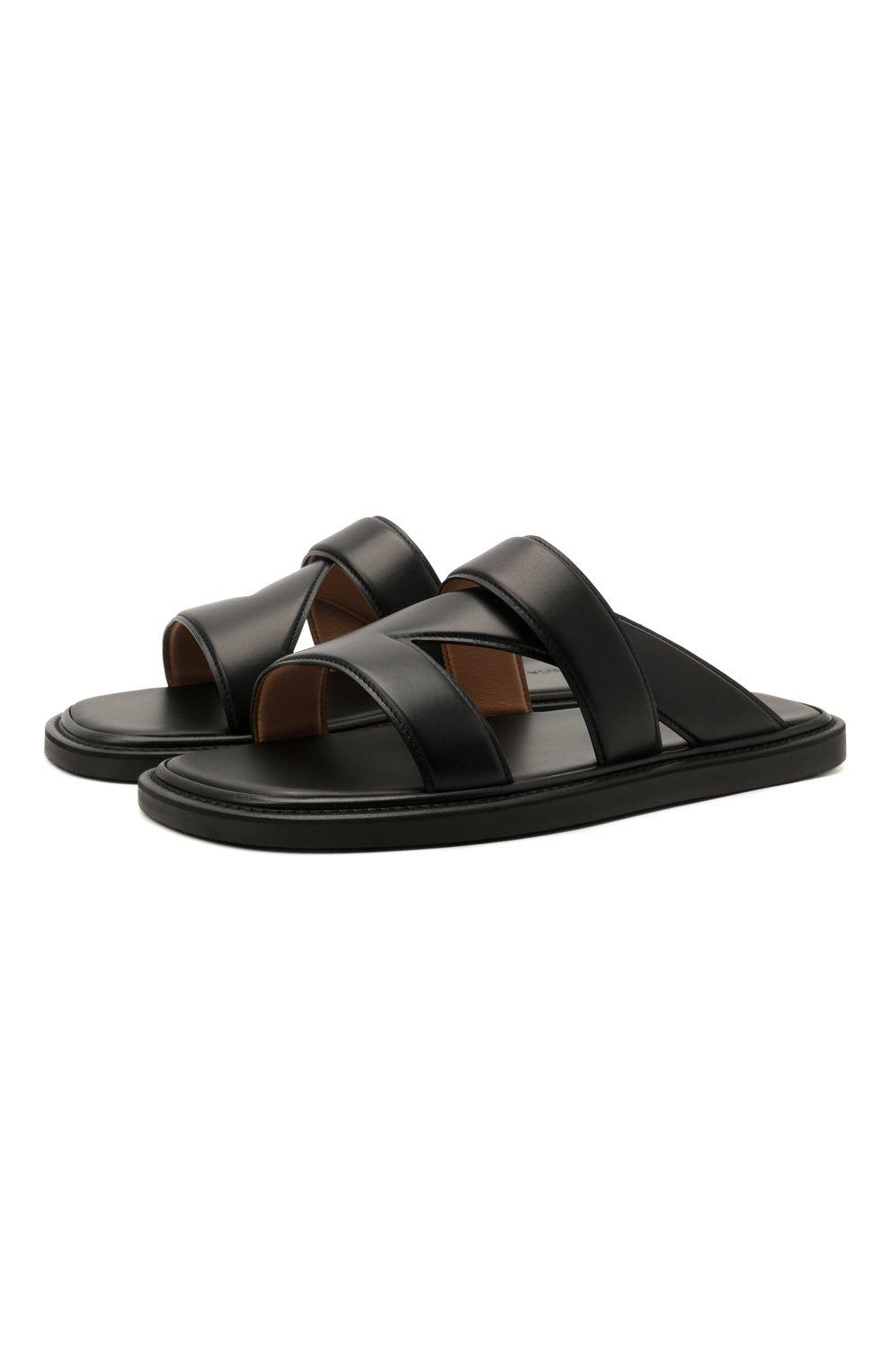 Мужские кожаные шлепанцы BOTTEGA VENETA черного цвета, арт. 651420/VBSL0 | Фото 1 (Материал внешний: Кожа; Материал внутренний: Натуральная кожа)