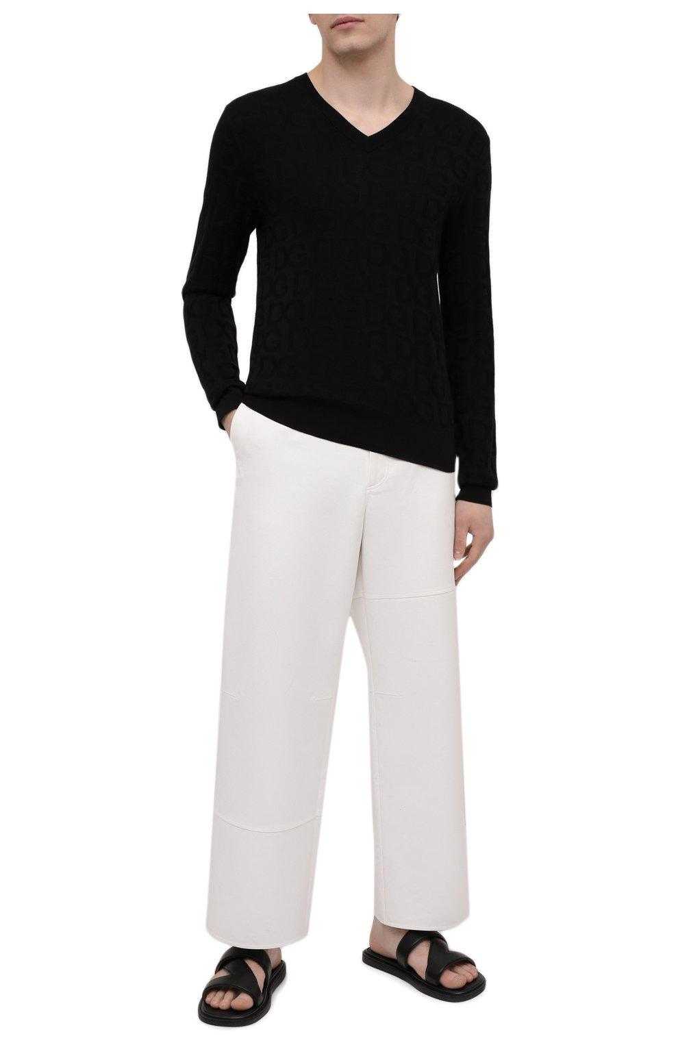Мужские кожаные шлепанцы BOTTEGA VENETA черного цвета, арт. 651420/VBSL0 | Фото 2 (Материал внешний: Кожа; Материал внутренний: Натуральная кожа)