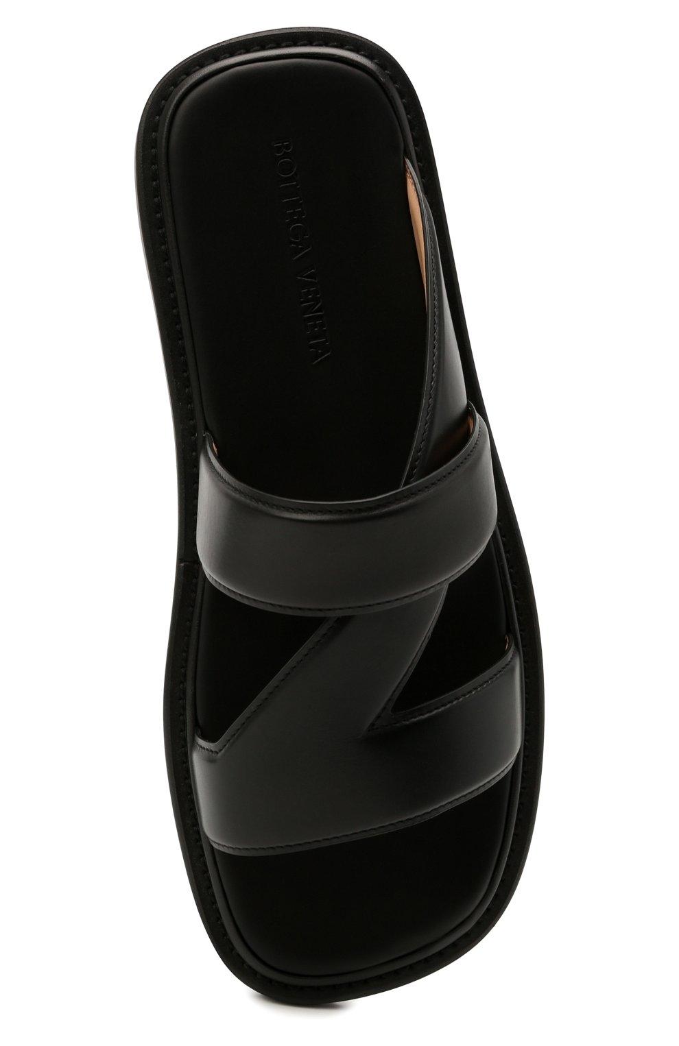 Мужские кожаные шлепанцы BOTTEGA VENETA черного цвета, арт. 651420/VBSL0 | Фото 5 (Материал внешний: Кожа; Материал внутренний: Натуральная кожа)