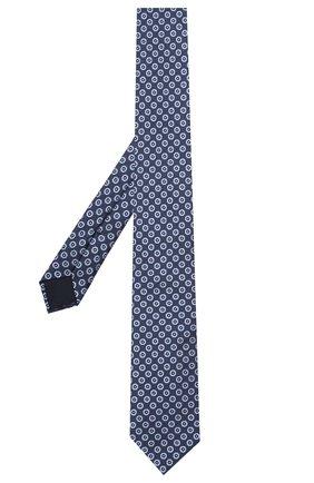 Мужской шелковый галстук CORNELIANI темно-синего цвета, арт. 87U306-1120315/00   Фото 2 (Материал: Шелк, Текстиль; Принт: С принтом)