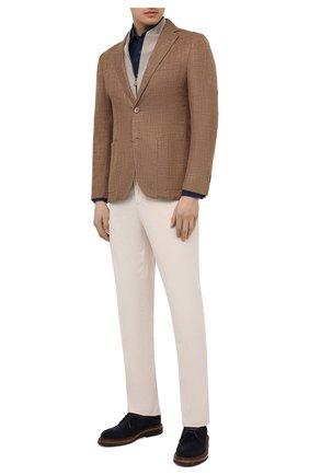 Мужской пиджак из шерсти и шелка CORNELIANI коричневого цвета, арт. 87X560-1116229/90 | Фото 2 (Длина (для топов): Стандартные; Рукава: Длинные; Материал подклада: Вискоза; Материал внешний: Шерсть; Пиджаки М: Приталенный; 1-2-бортные: Однобортные; Стили: Классический; Случай: Повседневный)
