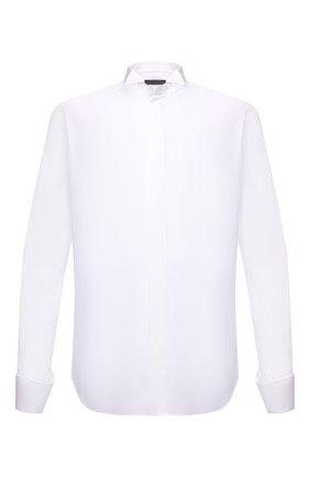 Мужская хлопковая сорочка CORNELIANI белого цвета, арт. 87P191-1111082/00 | Фото 1 (Рукава: Длинные; Длина (для топов): Стандартные; Материал внешний: Хлопок; Случай: Вечерний; Принт: Однотонные; Воротник: Бабочка; Манжеты: Под запонки; Рубашки М: Regular Fit)