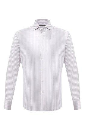 Мужская хлопковая сорочка CORNELIANI белого цвета, арт. 87P156-1111310/00 | Фото 1 (Рукава: Длинные; Длина (для топов): Стандартные; Материал внешний: Хлопок; Случай: Формальный; Воротник: Акула; Рубашки М: Regular Fit; Принт: Полоска; Манжеты: На пуговицах)