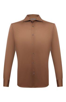 Мужская хлопковая рубашка CORNELIANI коричневого цвета, арт. 87P112-1111214/00 | Фото 1