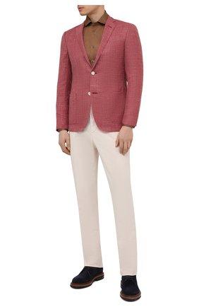 Мужская хлопковая рубашка CORNELIANI коричневого цвета, арт. 87P112-1111214/00 | Фото 2