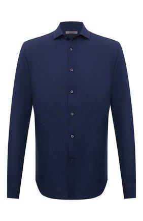 Мужская рубашка изо льна и хлопка CORNELIANI темно-синего цвета, арт. 87P029-1111051/00 | Фото 1 (Материал внешний: Хлопок, Лен; Рукава: Длинные; Длина (для топов): Стандартные; Случай: Формальный; Воротник: Кент; Рубашки М: Slim Fit; Манжеты: На пуговицах; Принт: Однотонные)