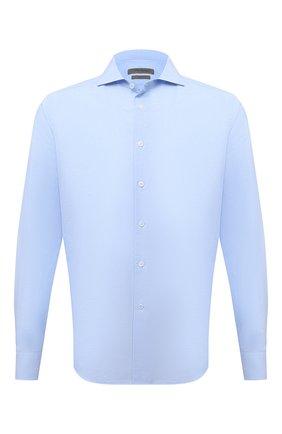 Мужская сорочка из хлопка и льна CORNELIANI голубого цвета, арт. 87P002-1111342/00 | Фото 1