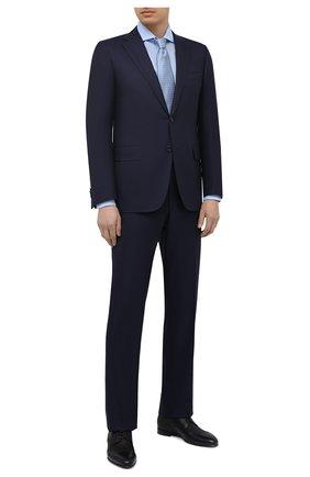 Мужская сорочка из хлопка и льна CORNELIANI голубого цвета, арт. 87P002-1111342/00 | Фото 2