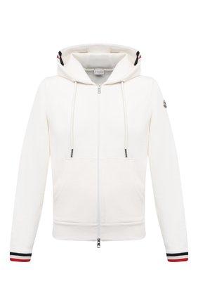 Мужской хлопковая толстовка MONCLER белого цвета, арт. G1-091-8G742-00-V8007 | Фото 1 (Длина (для топов): Стандартные; Рукава: Длинные; Материал внешний: Хлопок; Мужское Кросс-КТ: Толстовка-одежда; Стили: Кэжуэл)