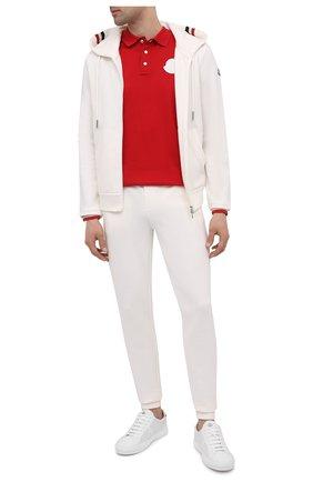 Мужской хлопковая толстовка MONCLER белого цвета, арт. G1-091-8G742-00-V8007 | Фото 2 (Длина (для топов): Стандартные; Рукава: Длинные; Материал внешний: Хлопок; Мужское Кросс-КТ: Толстовка-одежда; Стили: Кэжуэл)
