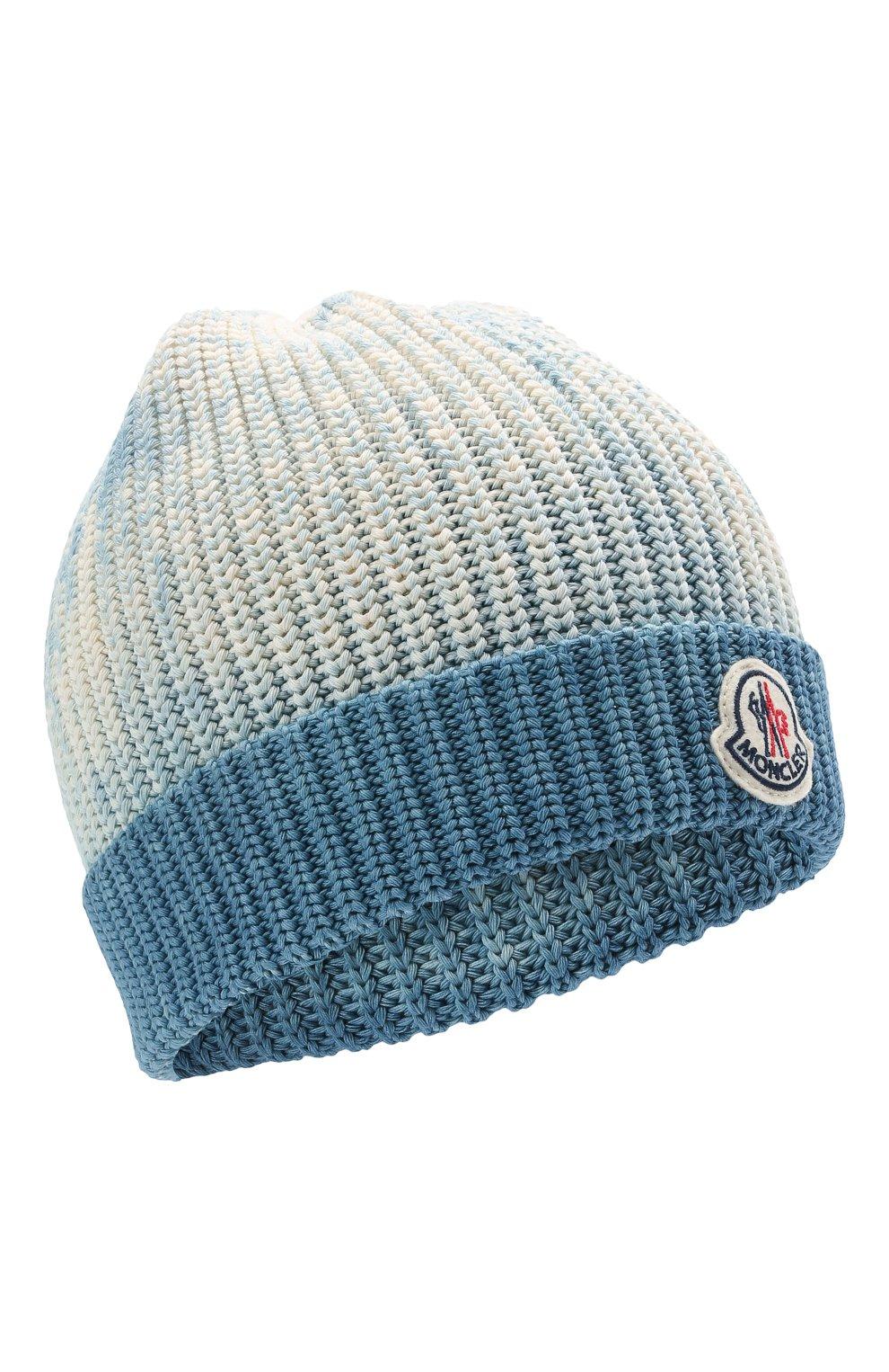 Мужская хлопковая шапка MONCLER голубого цвета, арт. G1-091-9Z761-60-V9170 | Фото 1