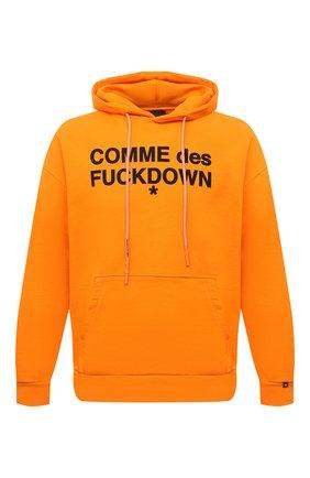 Мужской хлопковое худи COMME DES FUCKDOWN оранжевого цвета, арт. CDFU1100 | Фото 1