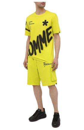 Мужская хлопковая футболка COMME DES FUCKDOWN светло-зеленого цвета, арт. CDFU1123 | Фото 2