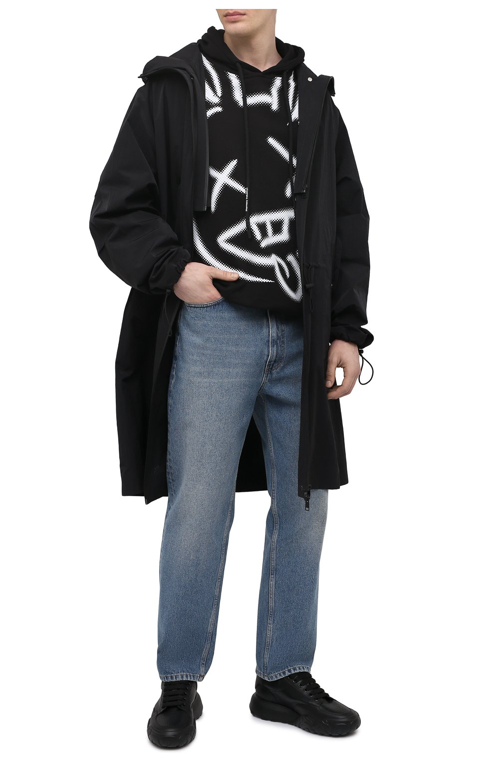 Мужской хлопковое худи PHARMACY INDUSTRY черно-белого цвета, арт. PHM213   Фото 2