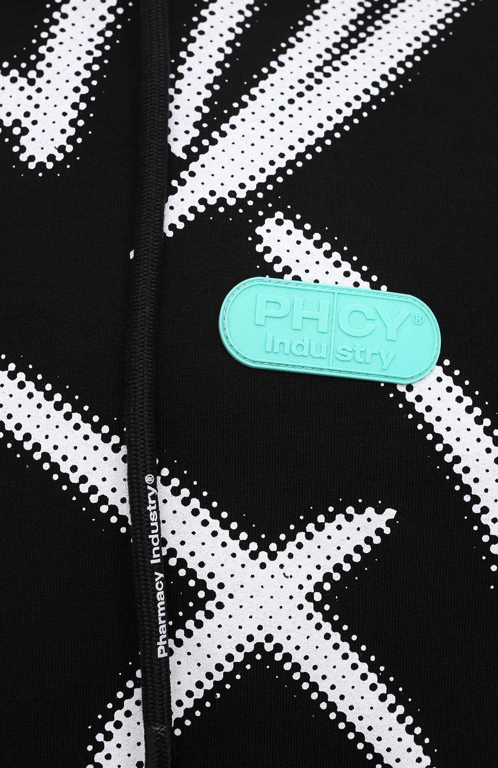 Мужской хлопковое худи PHARMACY INDUSTRY черно-белого цвета, арт. PHM213   Фото 5