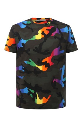 Мужская хлопковая футболка VALENTINO разноцветного цвета, арт. VV3MG00W72Q | Фото 1 (Рукава: Короткие; Длина (для топов): Стандартные; Материал внешний: Хлопок; Стили: Кэжуэл; Принт: С принтом)