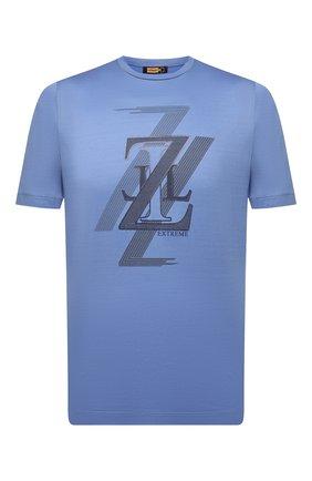 Мужская хлопковая футболка ZILLI голубого цвета, арт. MEV-NT250-EXTR1/MC01 | Фото 1 (Материал внешний: Хлопок; Рукава: Короткие; Длина (для топов): Стандартные; Стили: Кэжуэл; Принт: С принтом)