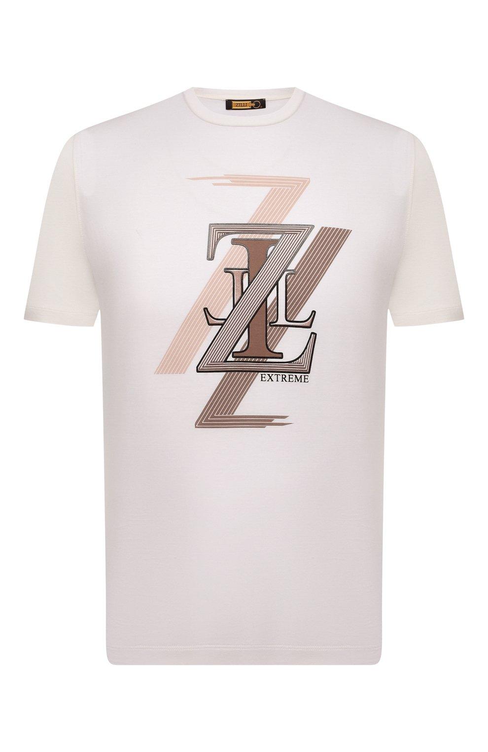 Мужская хлопковая футболка ZILLI белого цвета, арт. MEV-NT250-EXTR1/MC01   Фото 1