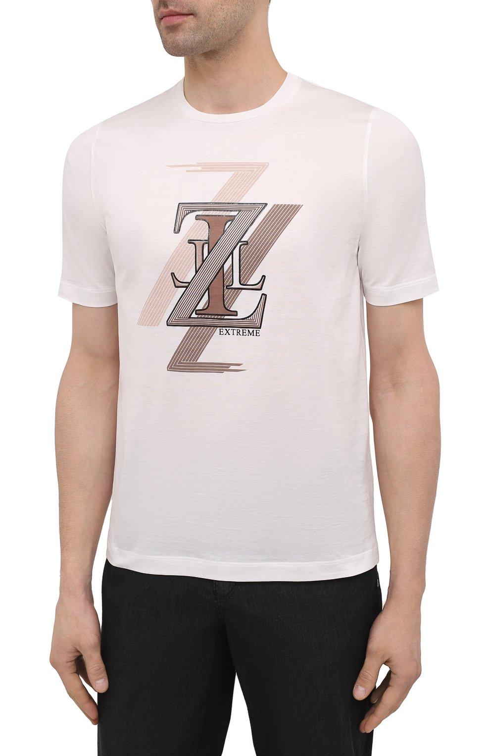 Мужская хлопковая футболка ZILLI белого цвета, арт. MEV-NT250-EXTR1/MC01   Фото 3