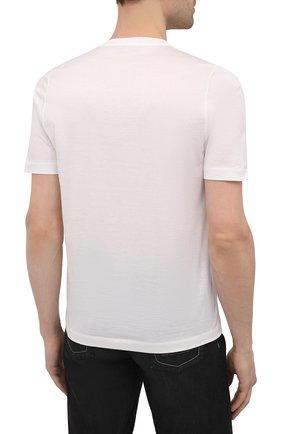 Мужская хлопковая футболка ZILLI белого цвета, арт. MEV-NT250-EXTR1/MC01   Фото 4