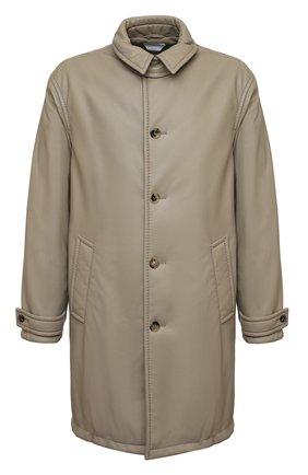 Мужской кожаное пальто BOTTEGA VENETA светло-серого цвета, арт. 654330/V0Q60 | Фото 1 (Материал подклада: Хлопок; Длина (верхняя одежда): До колена; Рукава: Длинные; Стили: Минимализм; Мужское Кросс-КТ: пальто-верхняя одежда)