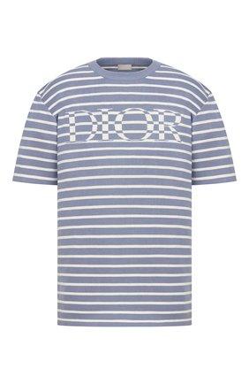 Мужская футболка из шелка и хлопка DIOR синего цвета, арт. 183M647AT234C570 | Фото 1