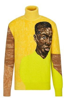 Мужской кашемировый свитер DIOR желтого цвета, арт. 183M643AT249C287 | Фото 1